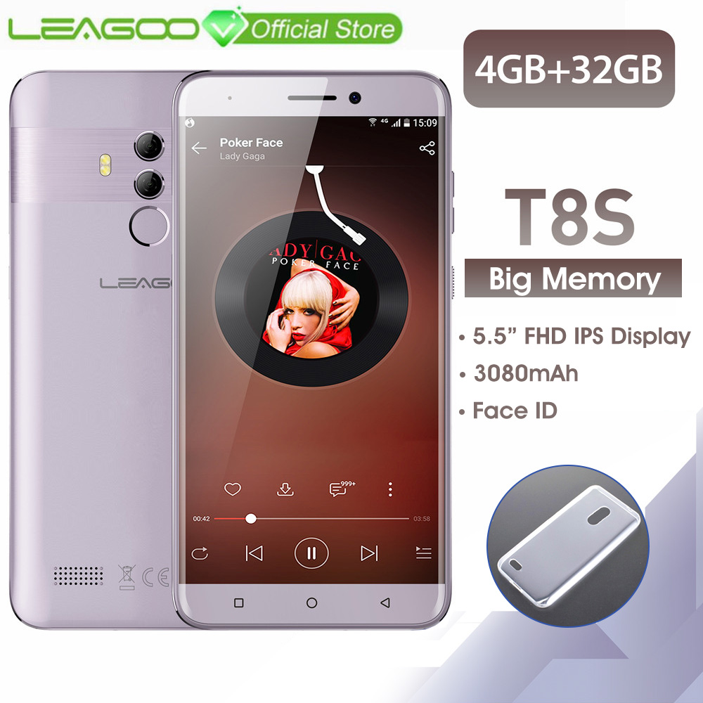 LEAGOO T8s  4GB RAM 32GB ROM Mobile Phone Android 8.1 5.5'' 1920*1080 MTK6750T Octa Core Face ID 13MP Dual Camera 4G Smartphone-in Cellphones from Cellphones & Telecommunications