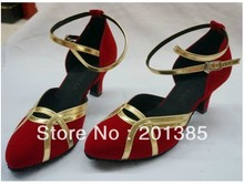 Free Shipping Wholesale Discount Red Suede Closed Toe Ballroom Salsa Latin Waltz Smooth Dancing Shoes 2.5inch Size 34-41