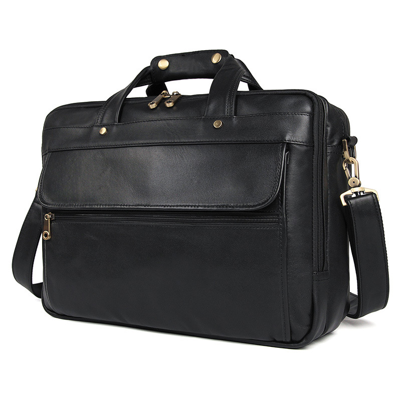 Cowhide Vintage Travel Large Briefcase Fashion Business Tote Handbag Men's Shoulder Laptop Bag Classic Genuine Leather Briefcase