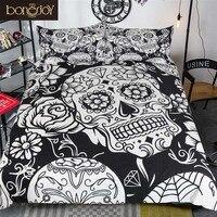 Bonenjoy Black and White Bedding Set Sugar Skull Print Duvet Cover Twin Full Queen King Bed Linen For Boy Bedroom Used Bedding
