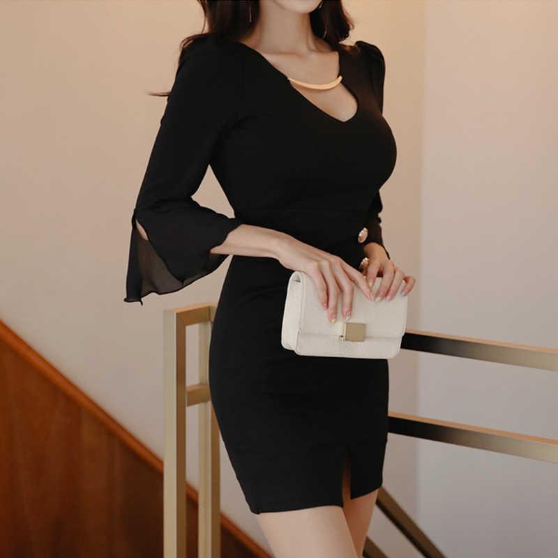 Элегантное Черное женское короткое платье с v-образным вырезом и Расклешенным рукавом, пуговицы, тонкая талия, облегающее женское платье Vestidos, Повседневное платье в офисном стиле 2019