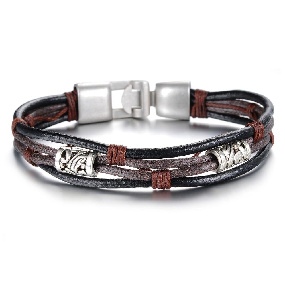 Fashion vintage genuine leather male punk rivet buckle bracelet accessories Bronze alloy - YEYEPO JEWELRY store