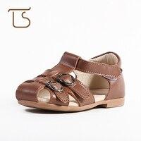 T.S. giày em bé 2017 trẻ em mùa hè Đầu Tiên First Walkers trai cô gái toddler shoes Mềm Da chính hãng dép trẻ em 2-5 Tuổi