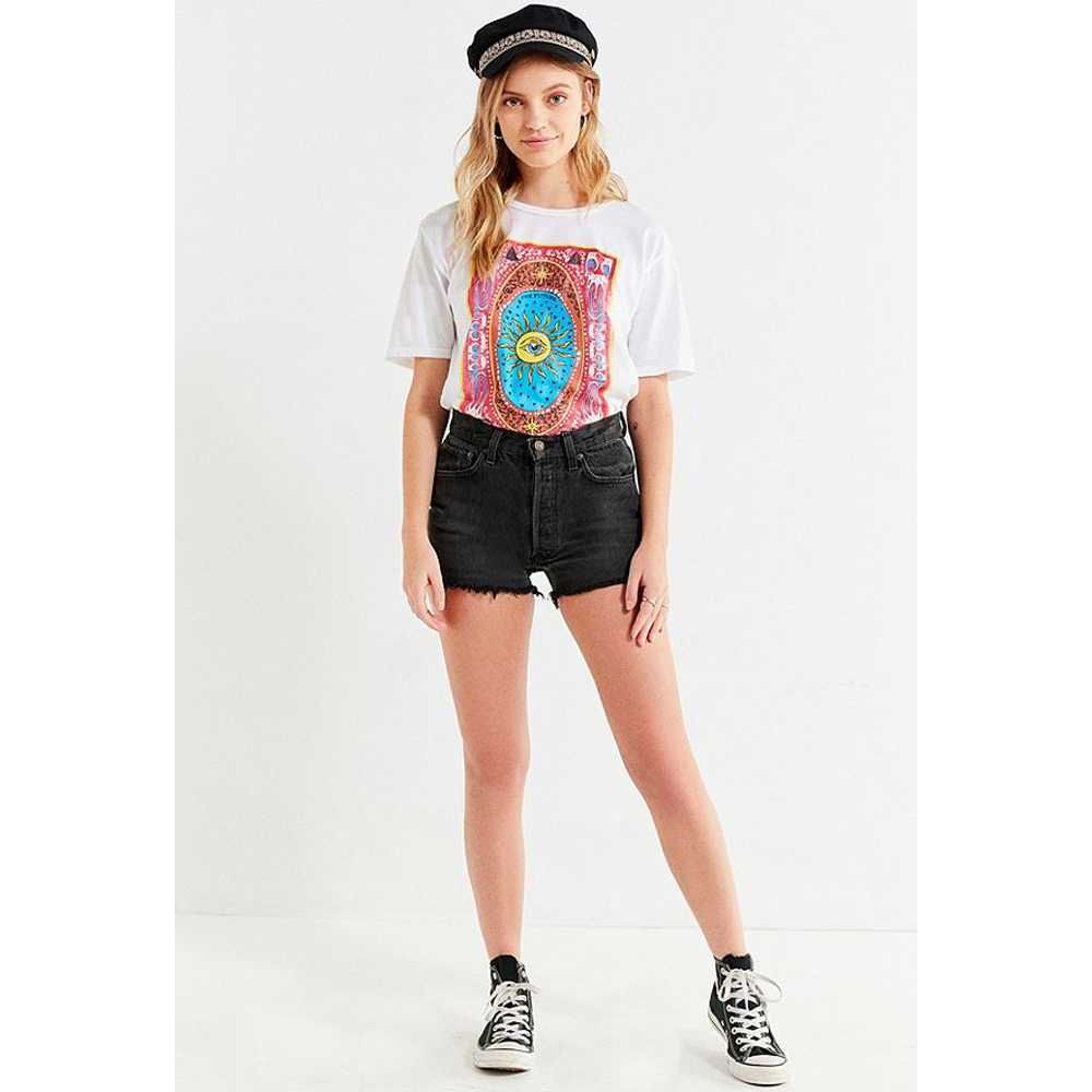 Tie Dye Grafische T-shirt Vrouwen Zomer Witte E Meisje Esthetische Ariana Grande Koreaanse Stijl Grunge Vintage Tops Plus Size kleding
