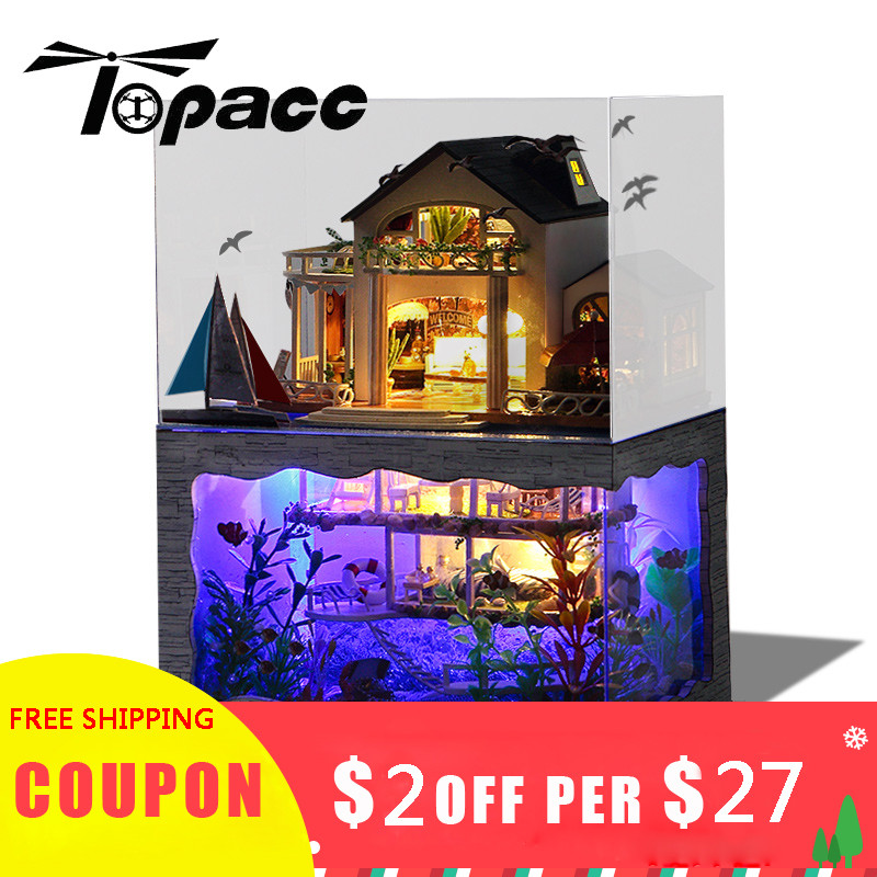 DIY Dollhouse Miniature Model Hawaii Villa House With Light Cover Gift Decoration Collection Gift Toys For Children Friend Kids Doll Houses     - title=