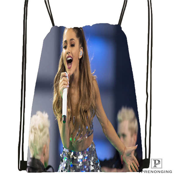 Custom Ariana-Grande- @02 Drawstring Backpack Bag Cute Daypack Kids Satchel (Black Back) 31x40cm#20180611-02-58