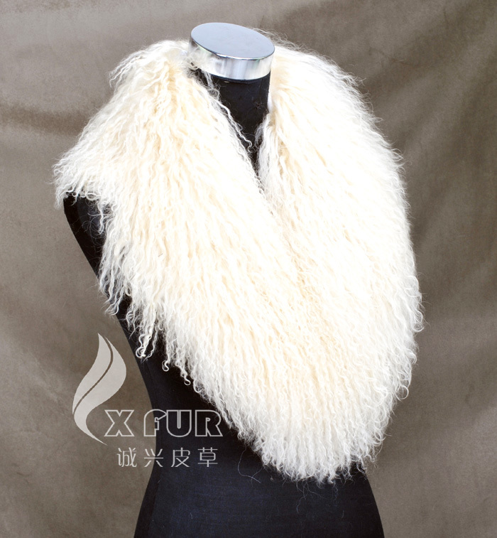 Настоящий монгольский овечий меховой воротник настоящий овечий мех шарф шарфы накидка шейный платок меховой шарф - Цвет: beige