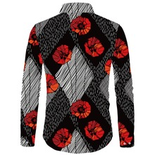 Cloudstyle 2018 New Fall Shirts Men 3D Printed Rose Peony Flower Floral Shirt Wedding Dress Fashion Long Sleeve Tops Homme