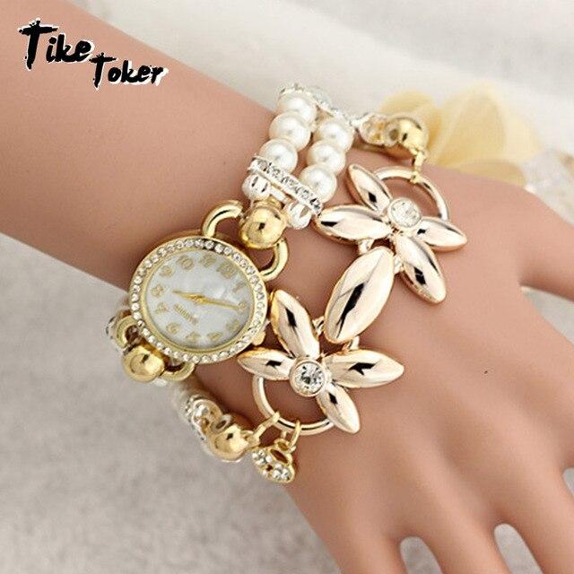 Tike Toker,Women's watch Ladies pearl flower bracelt Gift Fashion Brand New Pear