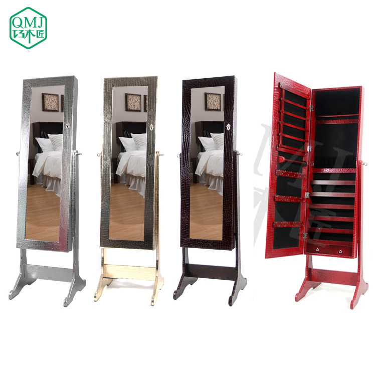 New Luxury Large Wooden Standing Jewelry Armoire Mirrored