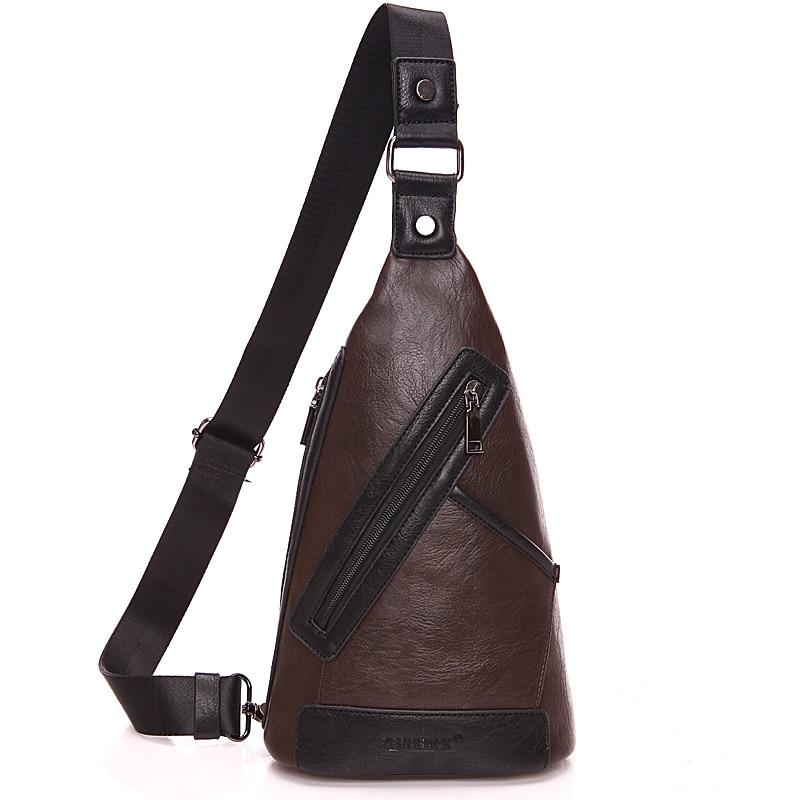 Leisure men s chest package Leather shoulder bag men messenger bag small bag Fashion men Chest