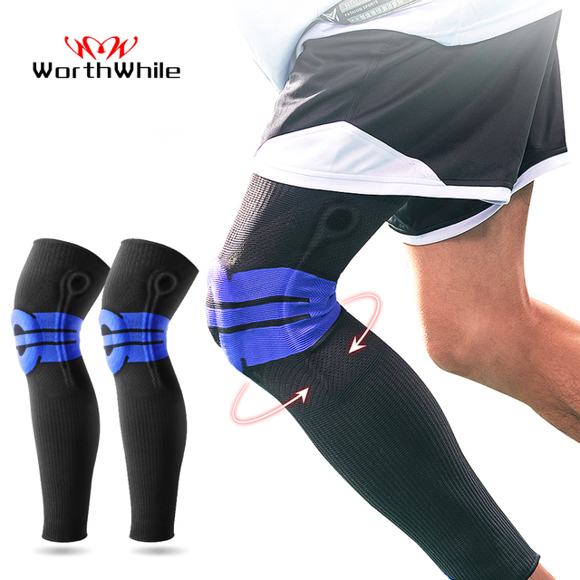 Moeite waard Elastische Silicon Padded Basketbal Kniebeschermers Ondersteuning Patella Brace Kneepad voor Fitness Gear Volleybal Sport Protector