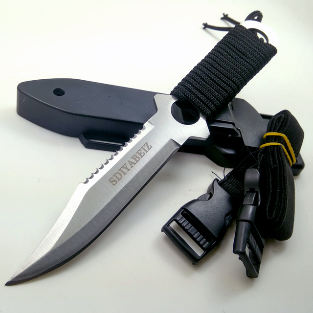 Fixed Blade Knife Hunting Stainless Steel Tactical Knives Outdoor Camping Hand Tool Sheath Diving Survival Knife SDIYABEIZ 1