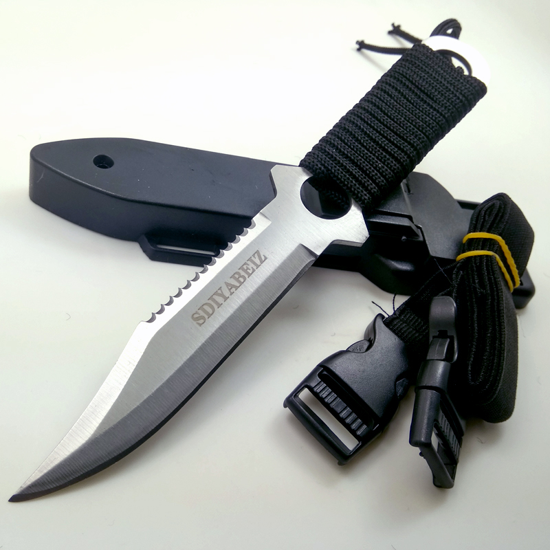 Cuchillo de hoja fija para caza, cuchillos tácticos de acero inoxidable, herramienta de mano al aire libre para acampar, cuchillo de supervivencia para buceo SDIYABEIZ