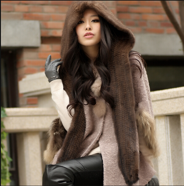 New Russian style fur hat with scarf for women and men's winter warm ear protection genuine mink fur knitted hats scarves new russia fur hat winter boy girl real rex rabbit fur hat children warm kids fur hat women ear bunny fur hat cap