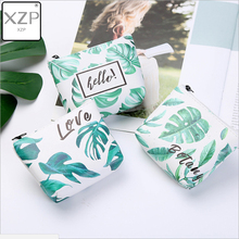 XZP New Women Printing Leaf Coin Purses Fashion Girl Zip Wallet Ladies Clutch Change Purse Kids Unisex PU Leather Mini Money Bag women genuine leather simple zip wallet men cellphone mobile bag fashion casual purse checkbook coin change bill money clutch