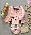 2016 primavera bebé encanto del color de la rebeca del arco del niño único breasted rebeca fina chaqueta de la capa