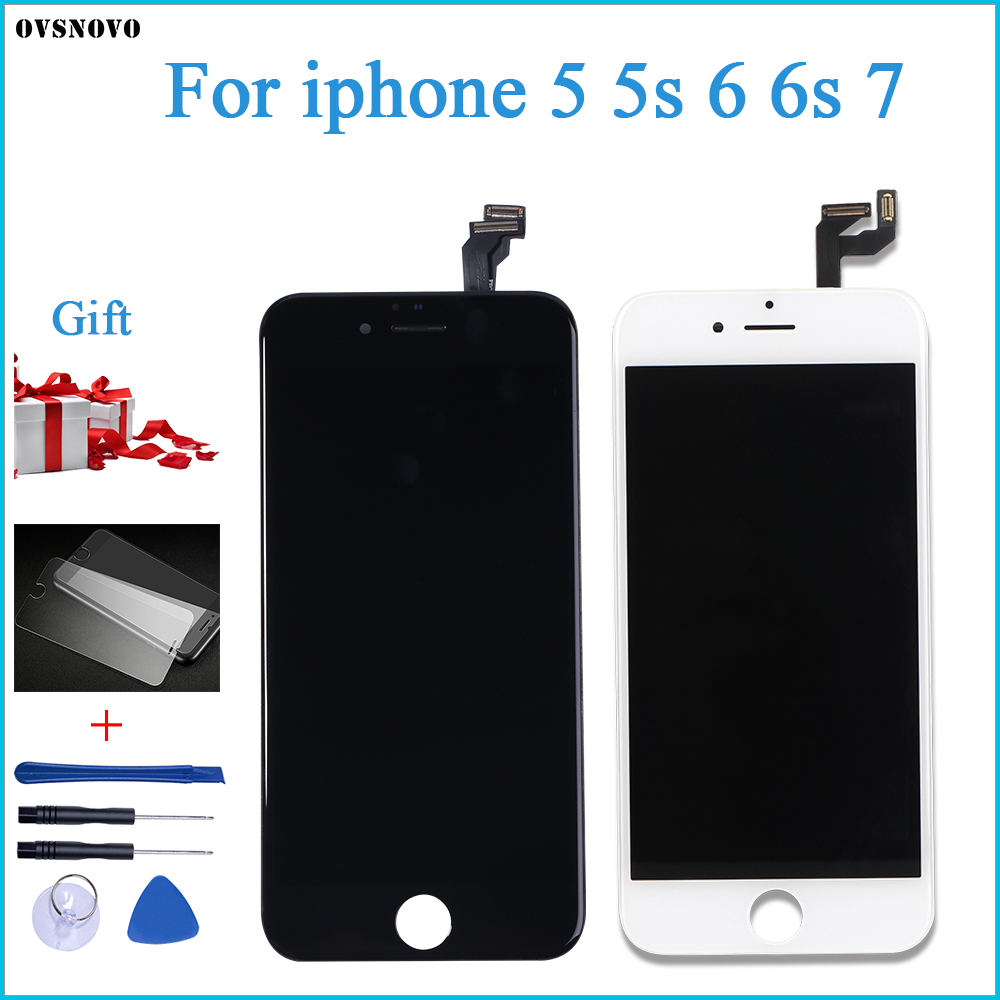 Ovsnovo AAA + + + CALIDAD para iPhone 5 5S 6 6s 7 LCD pantalla táctil montaje 100% nuevo vidrio Templado + herramientas