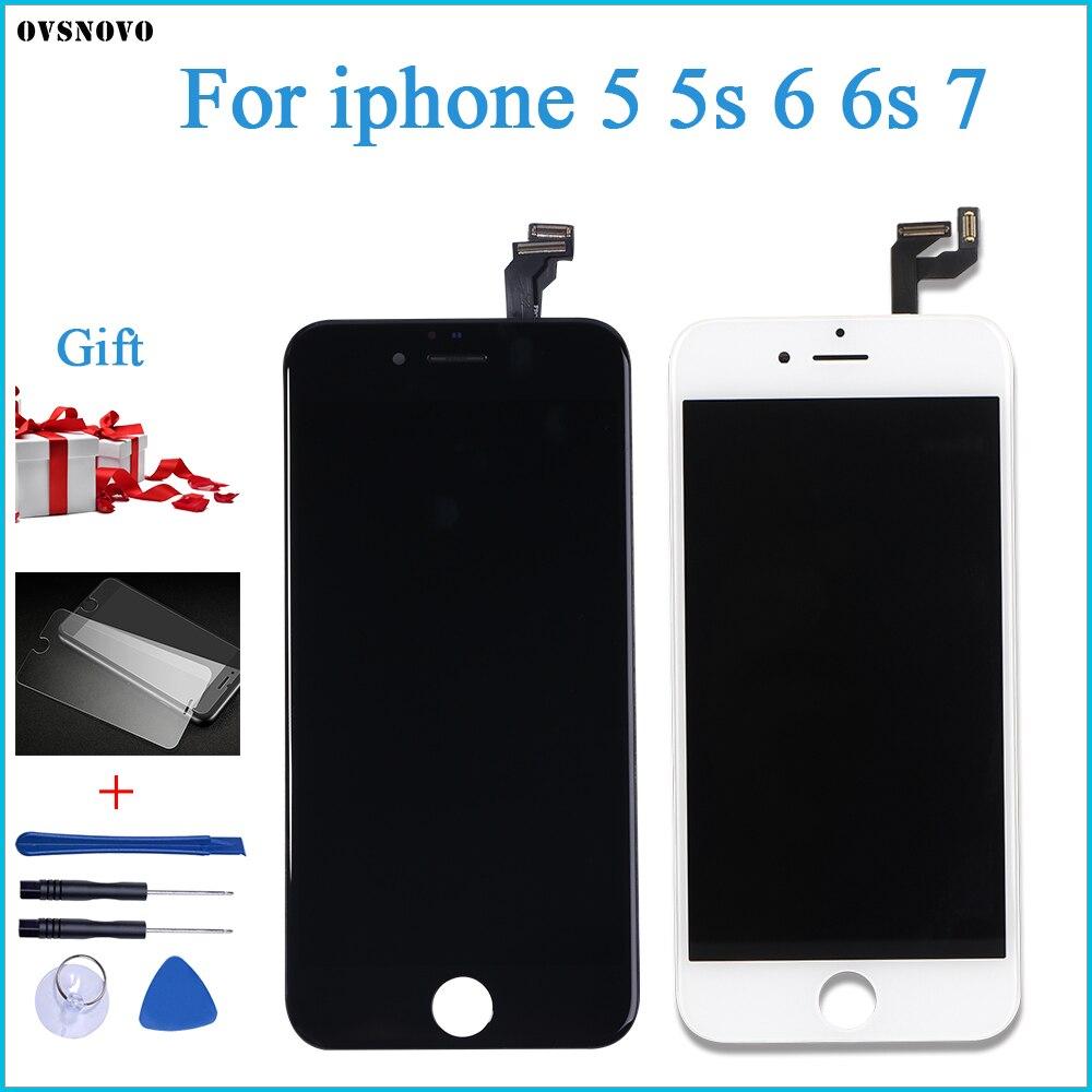 Ovsnovo AAA + + + качество для iPhone 5 5S 6 6s 7 ЖК дисплей сенсорный экран в сборе 100% новый закаленное стекло + Инструменты-in ЖК-экраны для мобильного телефона from Мобильные телефоны и телекоммуникации