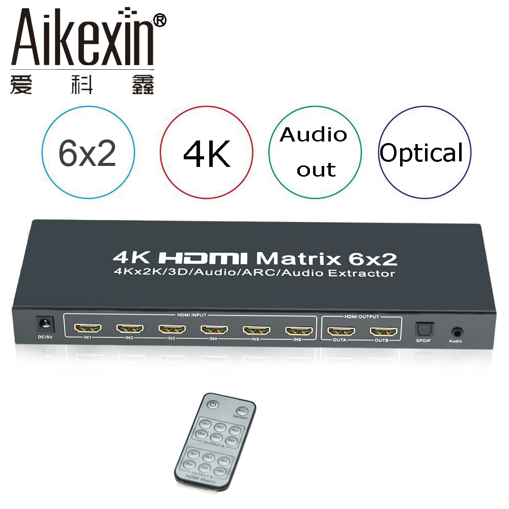 Aikexin 4K HDMI Matrix 6x2, HDMI Switcher Splitter 6 in 2 out with IR Remote Support HDMI 1.4  Audio Extractor, SDPIF/Toslink Ou