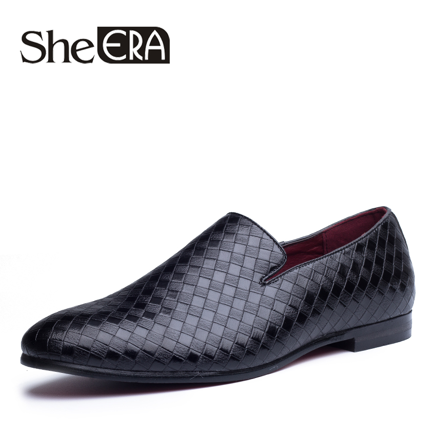 She ERA Men Leather Loafers Pointed Toe Weave Driving Loafers Comfortable Man Footwear Slip On Anti-skid Men Flat Shoes Sapatos