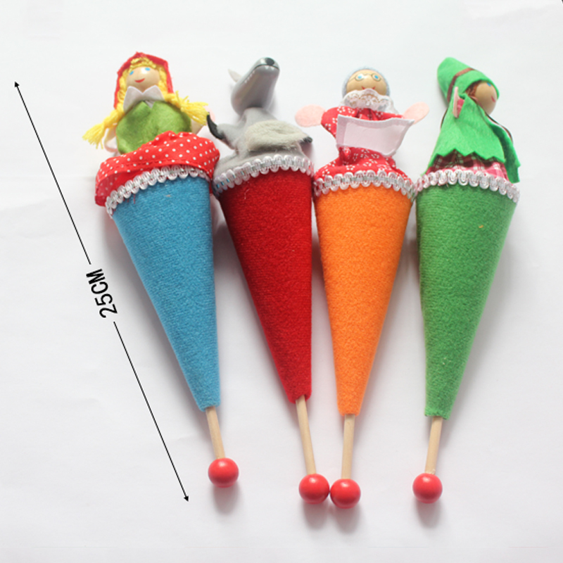 4PCS / lot Little Red Riding Hood Marionett Story Leksaker barn barn julklappar teleskop sticksocka plush toys Gratis frakt