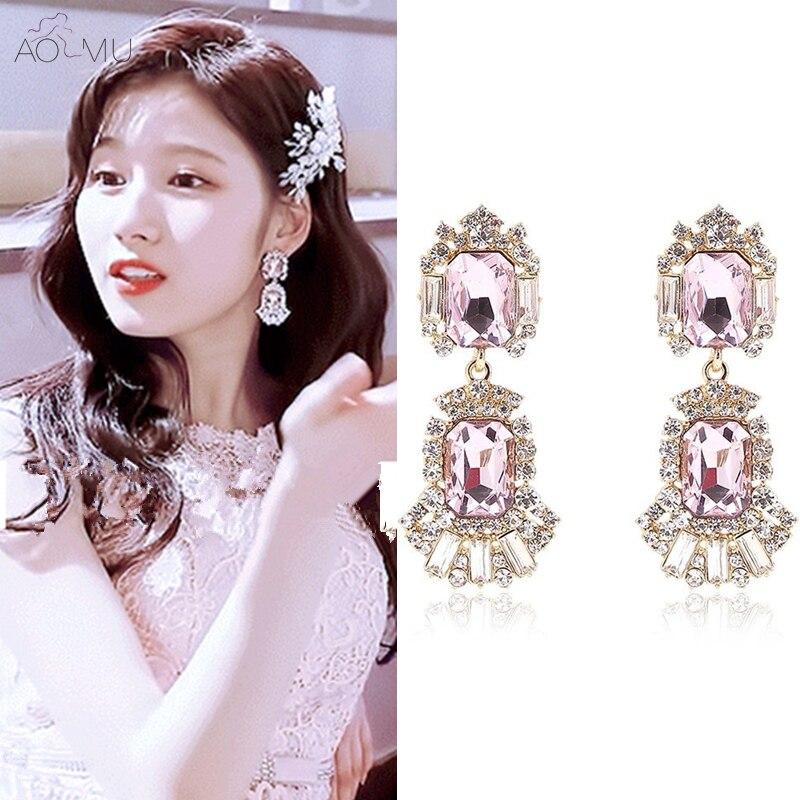 232c72ca11 MENGJIQIAO 2018 New Korean Fashion Purple Crystal Flower ...
