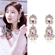 US $3.78 14% OFF|AOMU Korean Pink Double Square Crystal Stone Cubic Zirconia Tassel Earrings for Women Party Bridal Weddings Birthday Gift-in Drop Earrings from Jewelry & Accessories on Aliexpress.com | Alibaba Group