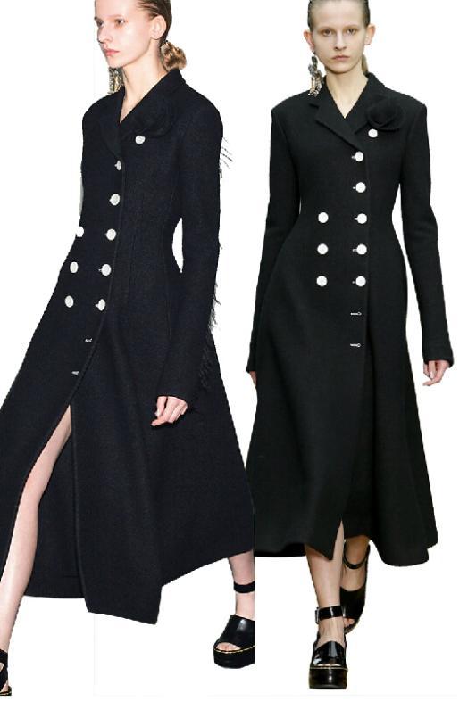 Elegant Black Double Breasted Women's Long Wool Winter