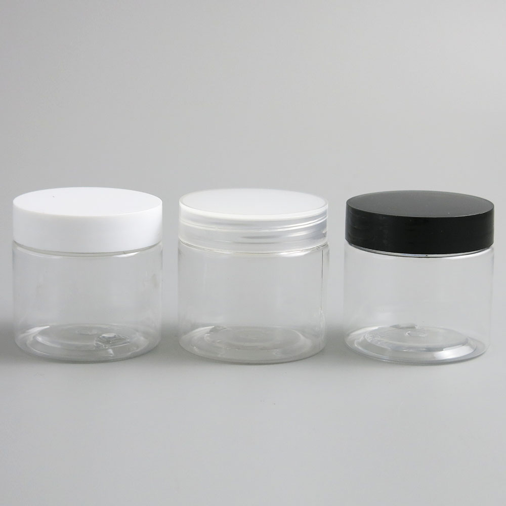 30pcs Empty Clear Plastic Round Cream Lotion Jar bottle with black white Lids screw cap 60g 60ml 2oz Cosmetic Sample Containers-in Refillable Bottles from Beauty & Health