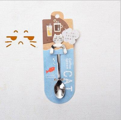 Кофейная и чайная ложка мини-кошка с длинной ручкой креативная ложка для питья пищевая кухонная посуда из нержавеющей стали - Цвет: Despise