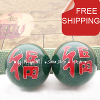 50mm Baoding Iron Balls Double Happiness In Jade Green Lovely Home Gift Healthcare Stress Balls Optional