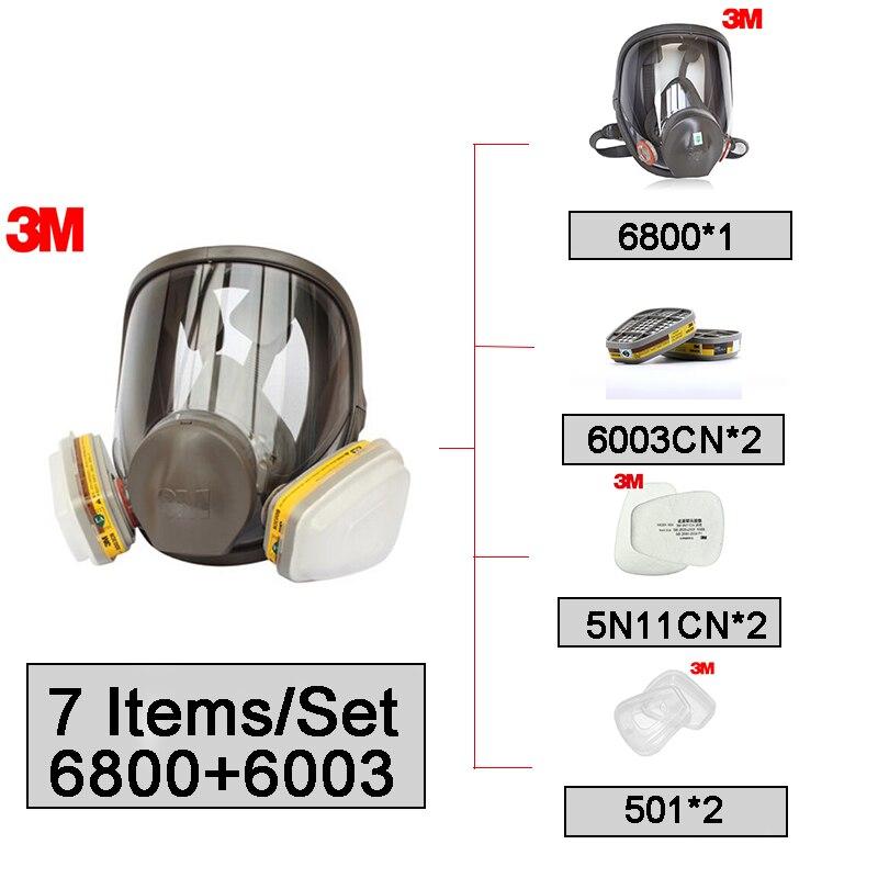 Masque facial de Protection de filtre de respirateur réutilisable de masque facial de 3 M 6800 + 6003 complet Anti-vapeur organique et gaz acide NIOSH & LA Standard LT080