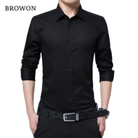 BROWON Men Fashion Blouse Shirt Long Sleeve Business Social Shirt Solid Color Turn Neck Plus Size