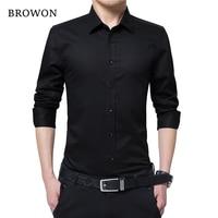 BROWON Men Fashion Blouse Shirt Long Sleeve Business Social Shirt Solid Color Turn Neck Plus Size