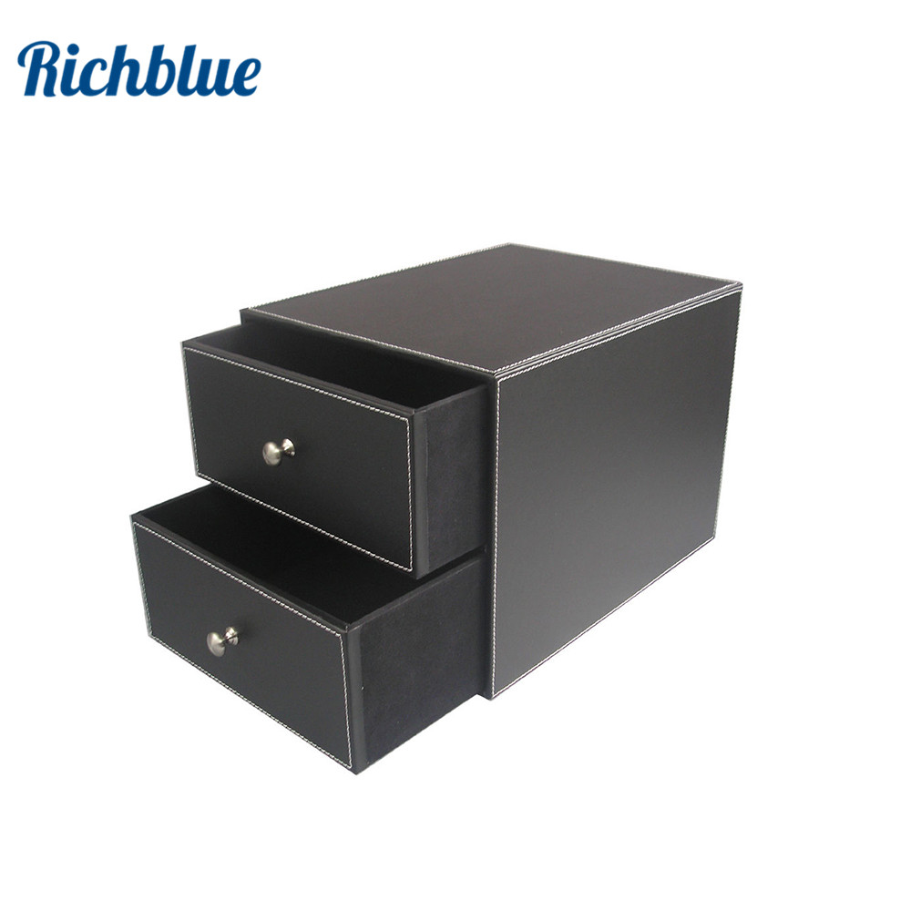 Ever Perfect 2 Drawer/Double Layer Leather Filing Cabinet ...