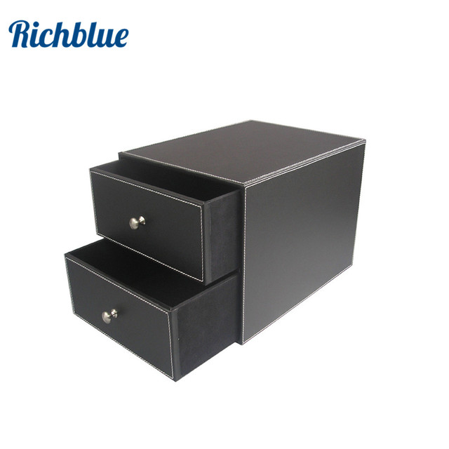 Ever Perfect 2 Drawer/Double Layer Leather Filing Cabinet Desk File  Organizer Holder Storage