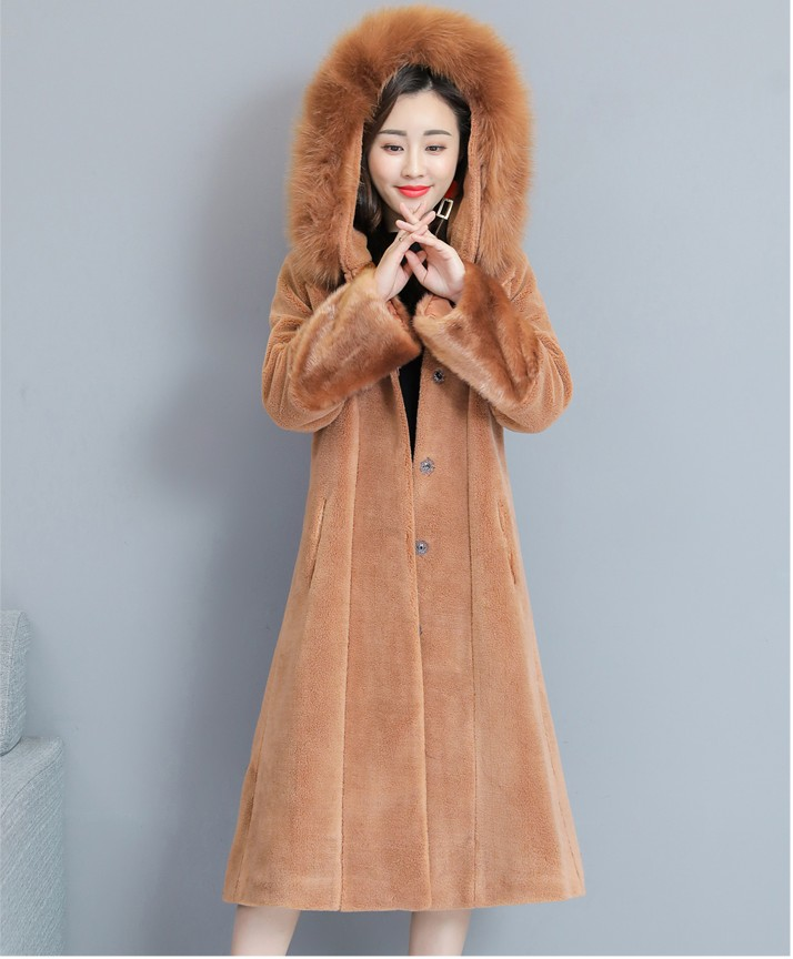 2019 new design women s fashion warm blends clothing girls casual winter soft fur beige long