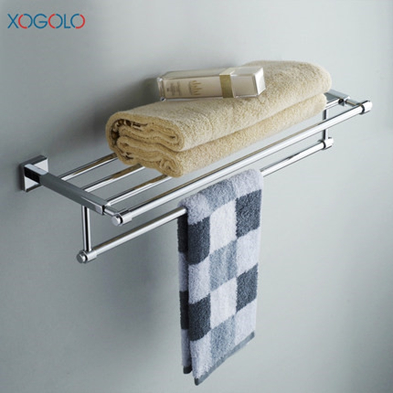 Xogolo Copper Polished Chrome Double Layer Brief Wall Mounted Bathroom Towel Rack Towel Holder Accessories chrome polished bathroom towel rack double towel bars towel holder bathroom accessories wall mount