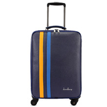Wholesale!18 inch pu leather travel luggage on universal wheels for men and women,blue fashion trolley luggage,FGF-0005-18