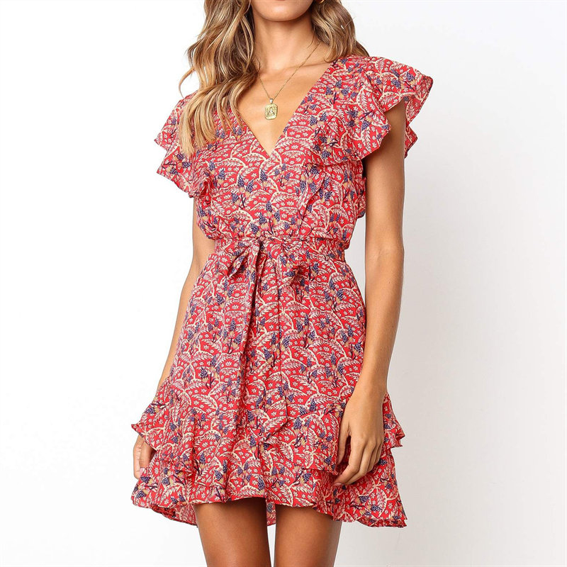 Dress Summer 2019 Women Floral Print Sashes Beach Dress Boho Style Ruffles A-line Mini Sundress Elegant Party Dress Vestidos
