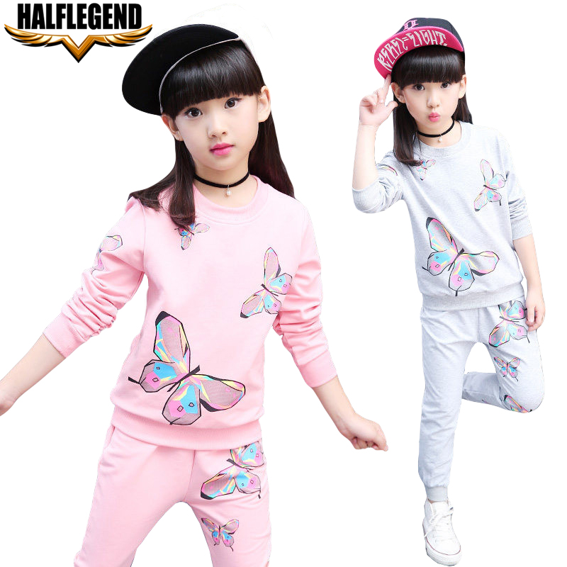 2018 Spring Kids Clothing Sets Sports Long Sleeve T-shirt Pants Girls Clothes Suits Butterfly Children for 6-10 11 12 13 Years spring summer print maternity clothing suit t shirt long sleeve top sports casual fashion legging pants pregnant sets clothing