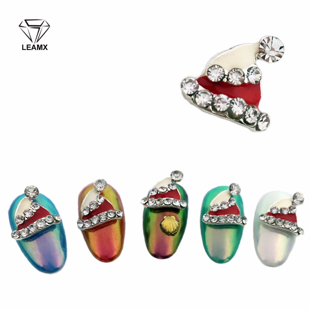 LEAMX 10Pcs New 2018 Glitter White And Red Christmas hats Nail Art With Rhinestones Metal Alloy Nail Art Decoration Nail Tools in Rhinestones Decorations from Beauty Health