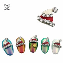 LEAMX 10Pcs New 2018 Glitter White And Red Christmas hats Nail Art With Rhinestones Metal Alloy Decoration,Nail Tools