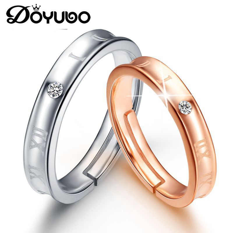 DOYUBO Simple Lovers 925 Sterling Silver Rings For Men & Women Adjustable Size Silver Couples Rings Engraving Logo Jewelry VB295