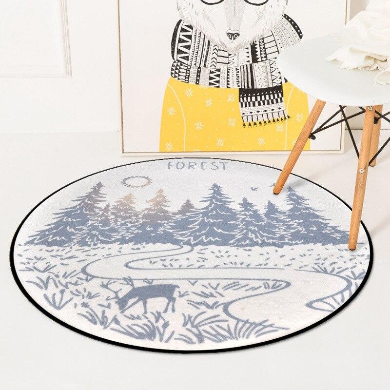 Nordic Sweet Deers Round Carpets For Living Room Bedroom Chair Area Rugs Children Room Play Tent Kids Soft Floor Mat Carpet Rug