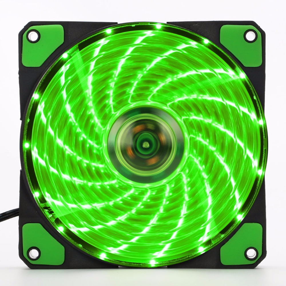 120mm LED Ultra Computer Cooler Silent Computer PC Case Fan 15 LEDs 12V With Rubber Quiet Molex Connector Easy Installed Fan new computer case firewall ultra short 1u 420mm