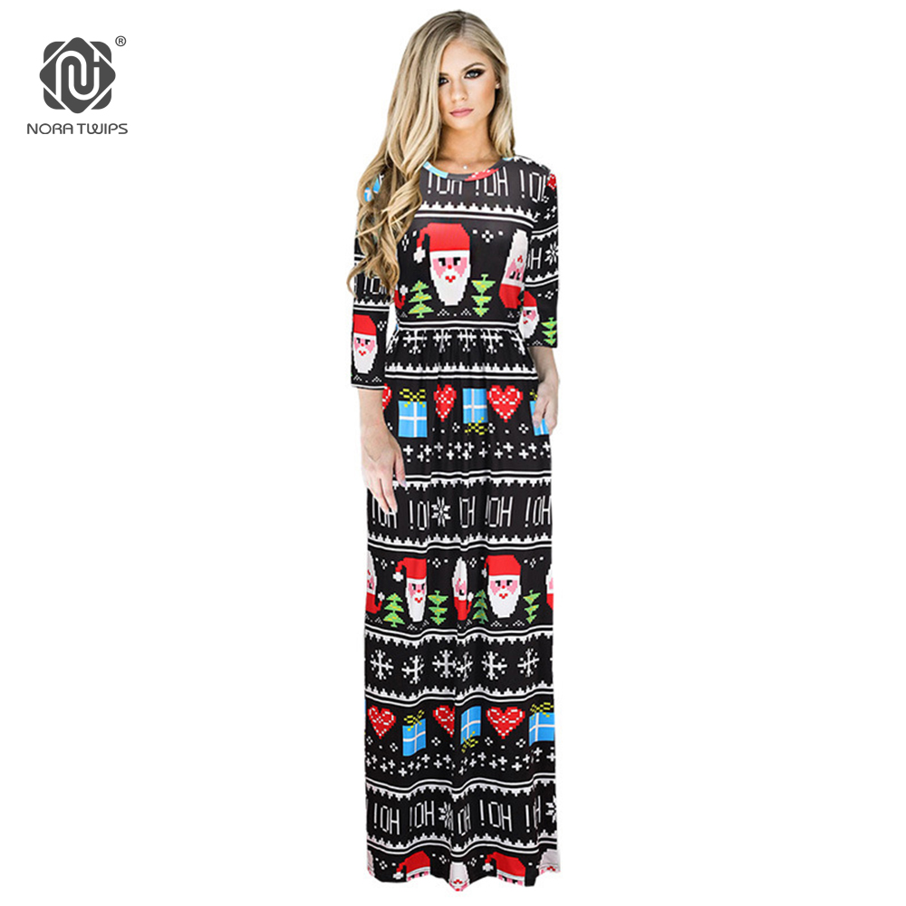 US $13.69 17% OFF|NORA TWIPS 2017 Women Fashion Santa Claus Print Christmas  Dress Plus Size Straight Floor length Winter Maxi Dress For Women-in ...