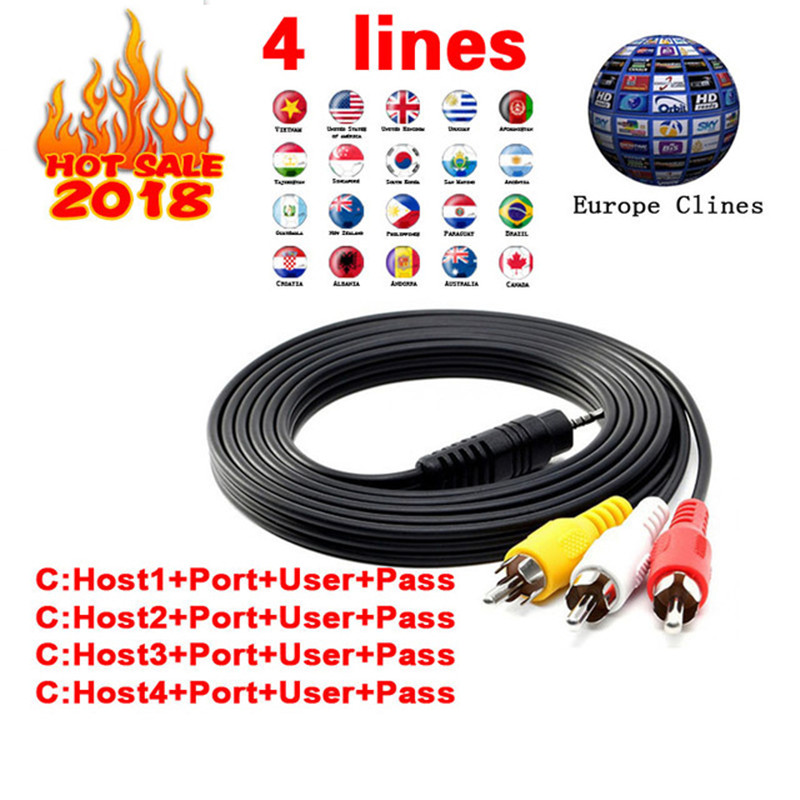 Europe HD cable 1 Year CCCams for Satellite tv Receiver 4 Clines WIFI FULL HD DVB-S2 Support Spain cline ccam Server