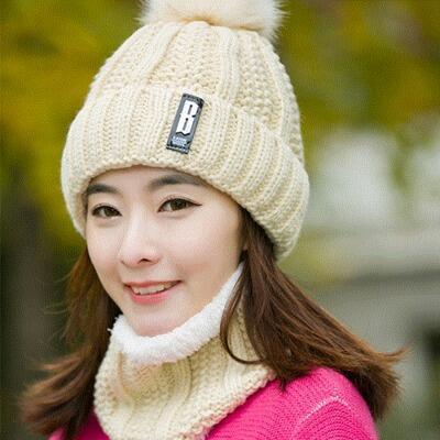 Neck warm Balaclava knitted winter hat Big Fur pom poms ball Knitted hats scarf set women Beanie Hat thick Skullies female cap